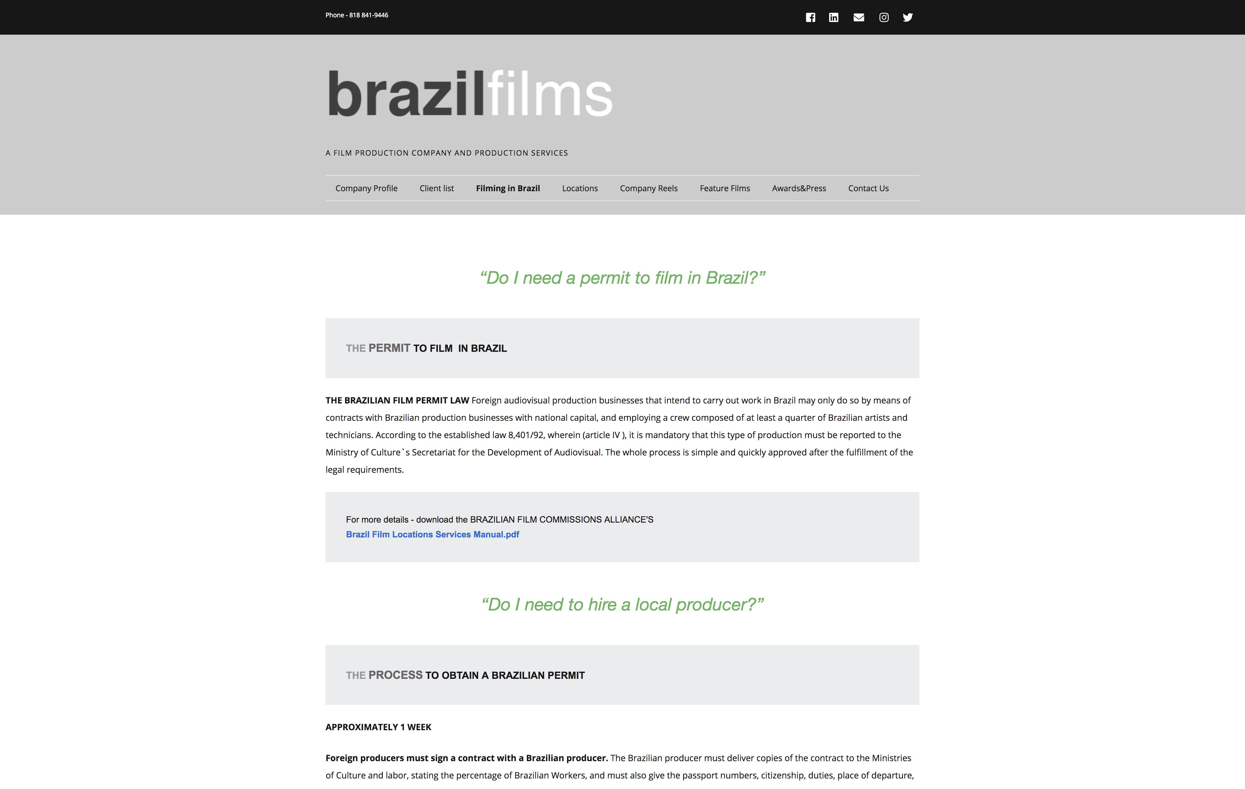 page du site de brazilfilms.com imaginatica Le Havre Paris