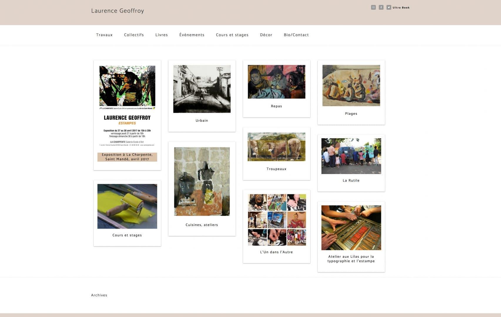 page du site de l'artiste peintre et graveuse Laurence Geoffroy