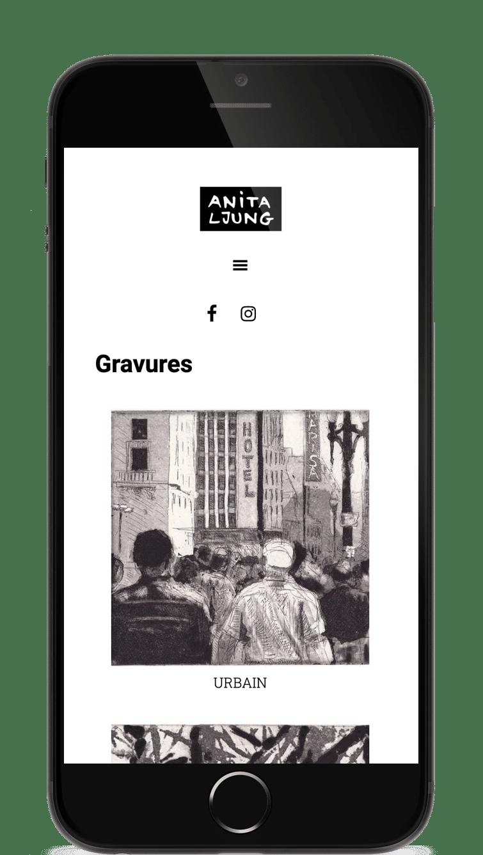 Page d'accueil du site d'Anita Ljung, artiste