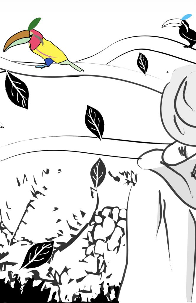 Le poète rencontre les toucans dans la forêt